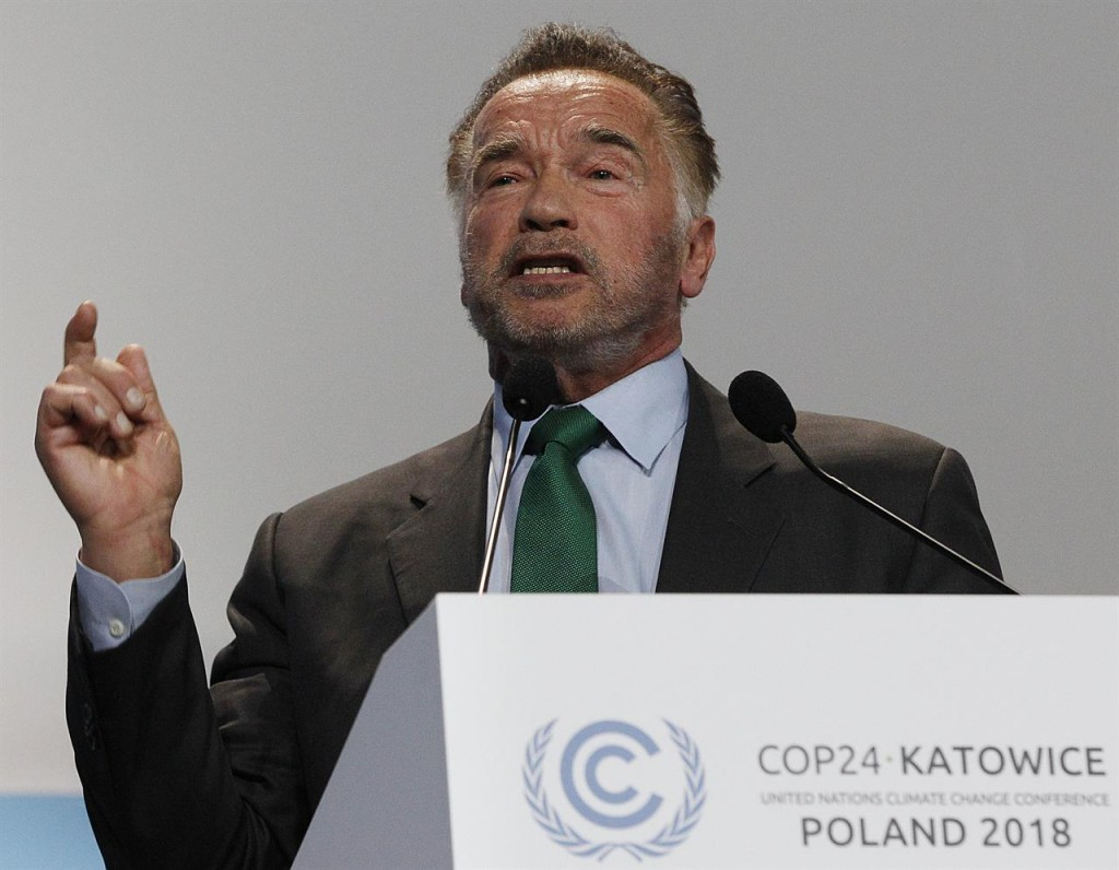 Arnold Schwarzenegger speaking at the COP24 climate summit in Poland on December 3.