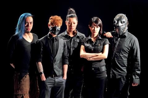 Taiwanese rock band Chthonic (with Freddy Lim in center).