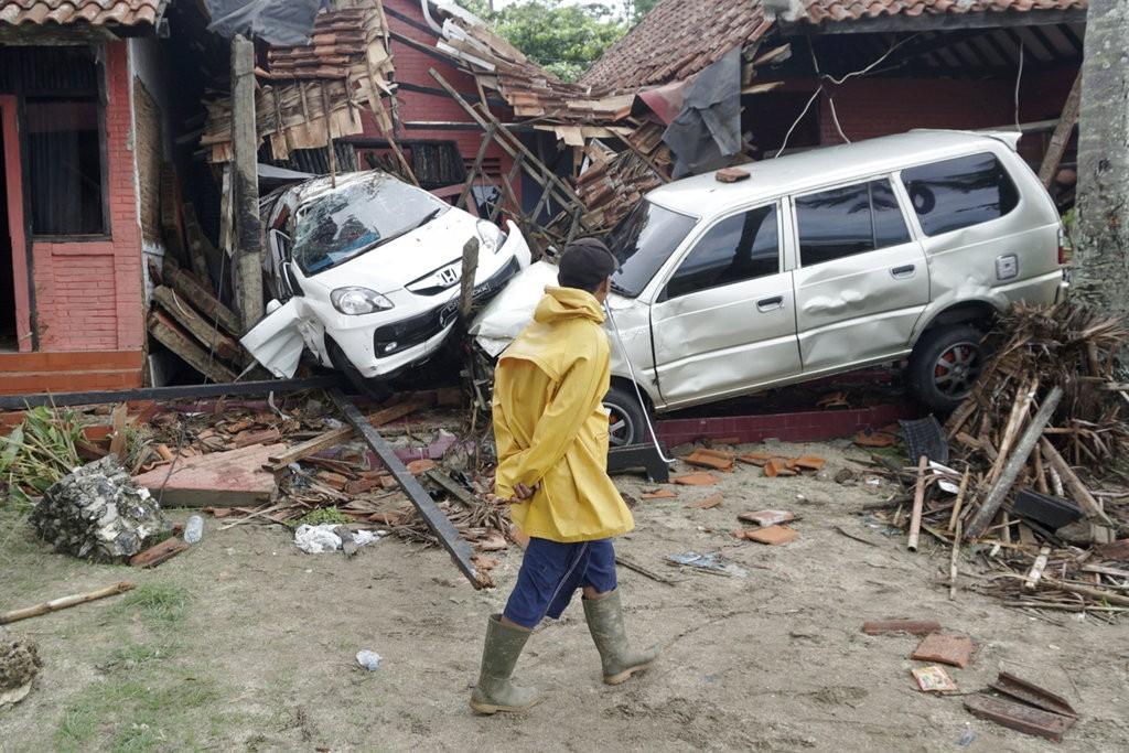Tsunami aftermath in Carita, Indonesia