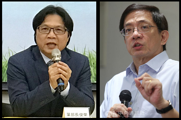 Minister of Education Yeh Jiunn-rong (L) and Kuan Chung-ming (R)