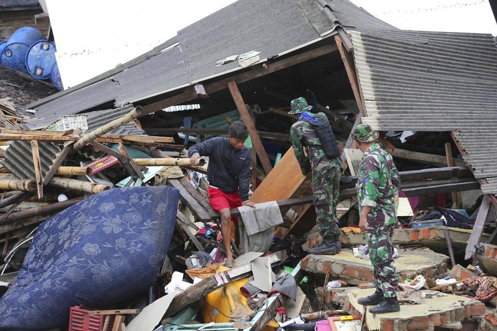 Reconstruction efforts in Sumur, Indonesia.