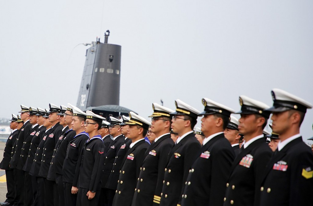 File photo: the crew of Taiwan's SS-792 Submarine, March, 2017