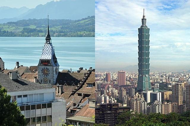 City of Zug, left, Taipei, right.