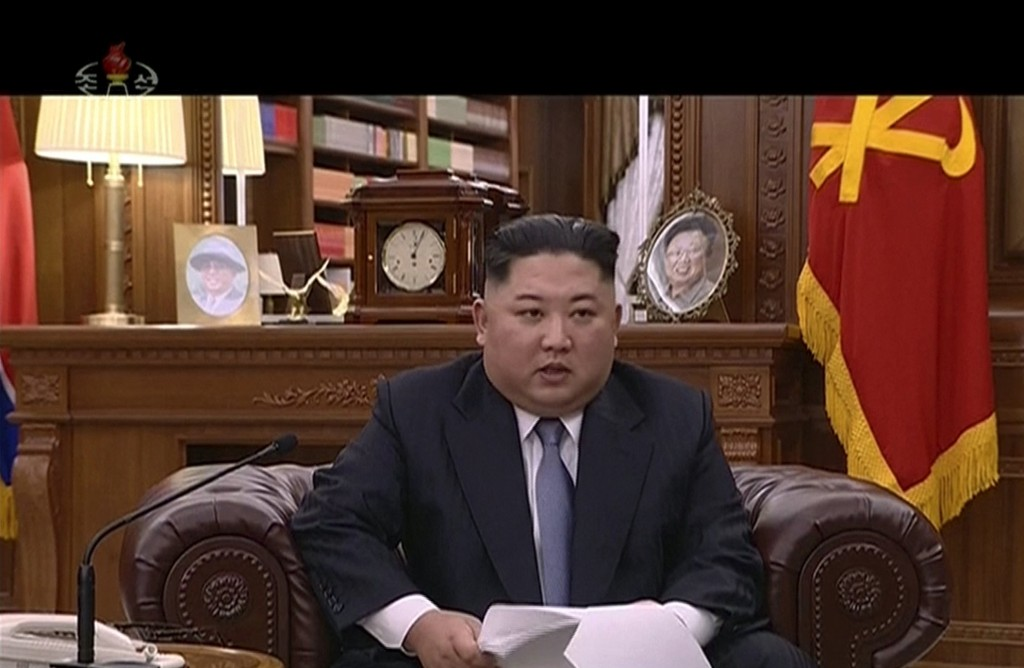 Kim Jong Un giving a New Year's Day address