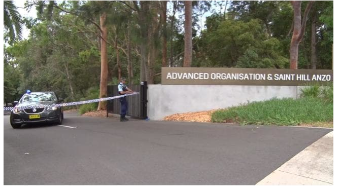 A police vehicle outside the Scientology Center near Sydney, Australia (screen shot from news.com.au Facebook page).