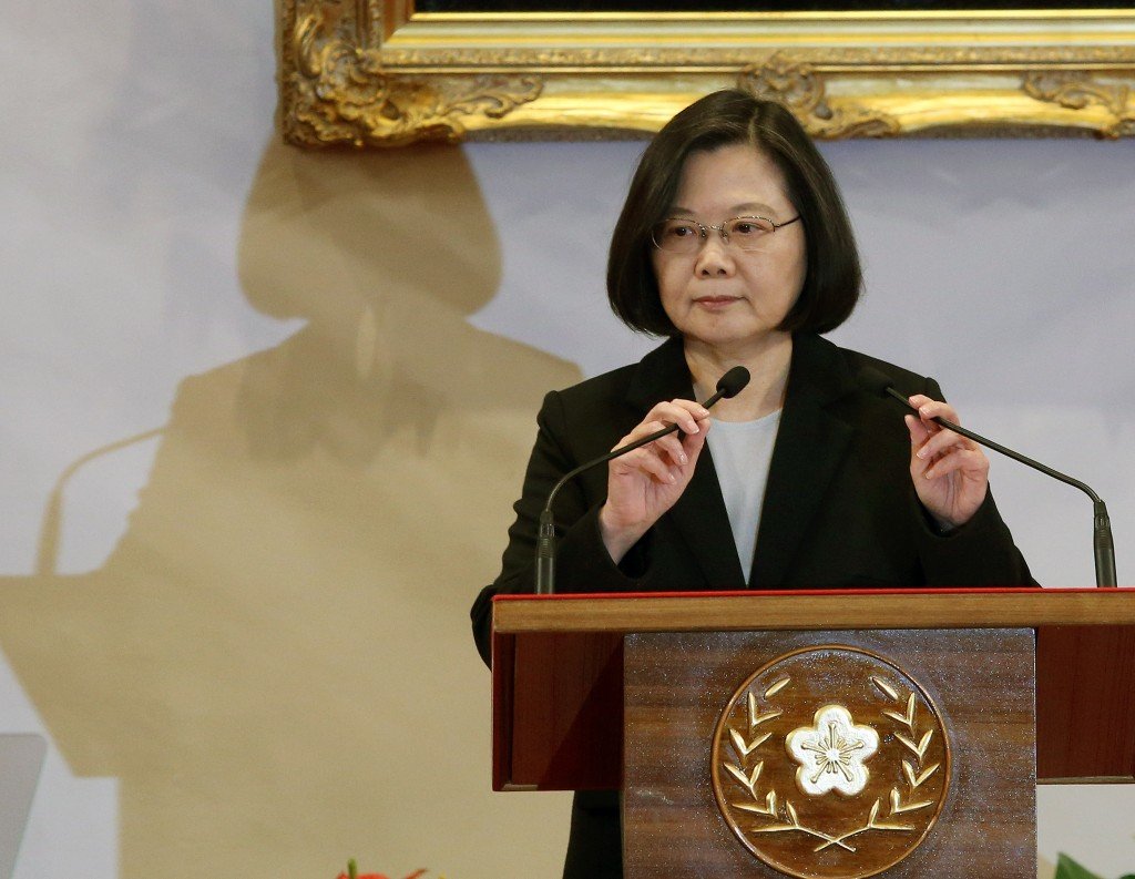 President Tsai Ing-wen responding to Chinese leader Xi Jinping's speech on Jan. 2.