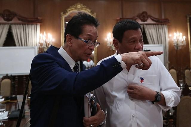 File photo: Salvador Panelo, left, with Rodrigo Duterte