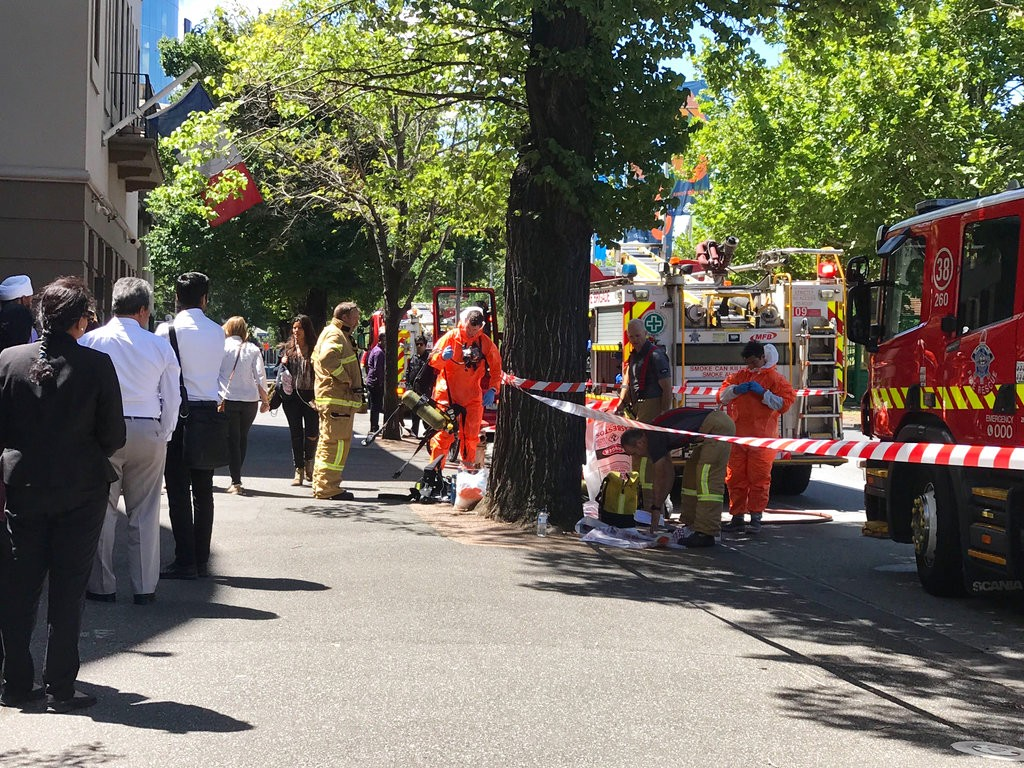 Hazmat and fire crews work outside the Indian and French Consulate in Melbourne Australia