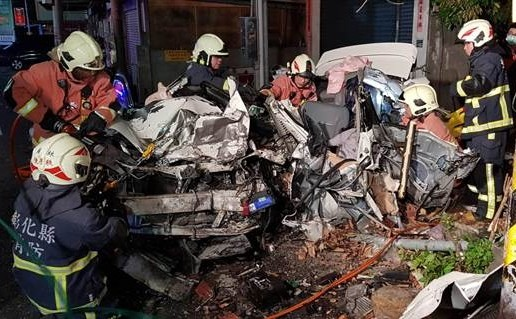 Wreckage of Toyota. (Changhua Police photo)