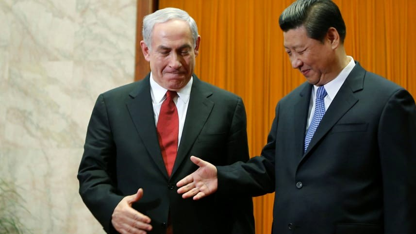 Israel's Prime Minister Benjamin Netanyahu (left) with China's President Xi Jinping in 2015.