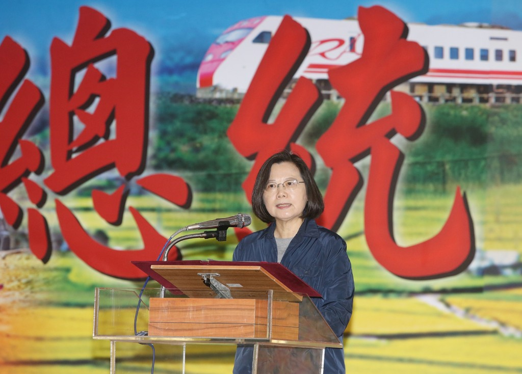 President Tsai Ing-wen addressing the troops on the east coast Tuesday.