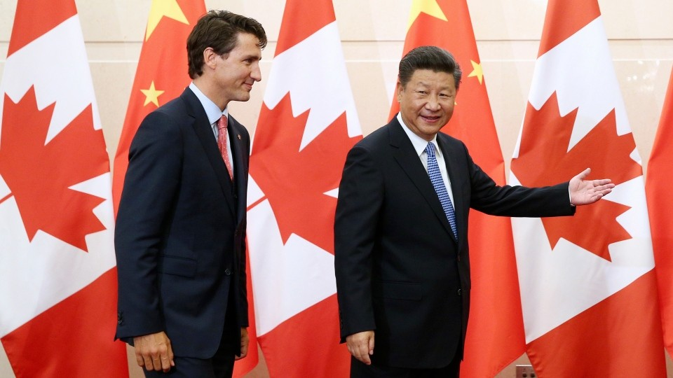 Canadian Prime Minister Justin Trudeau (left) and Chinese President Xi Jinping.