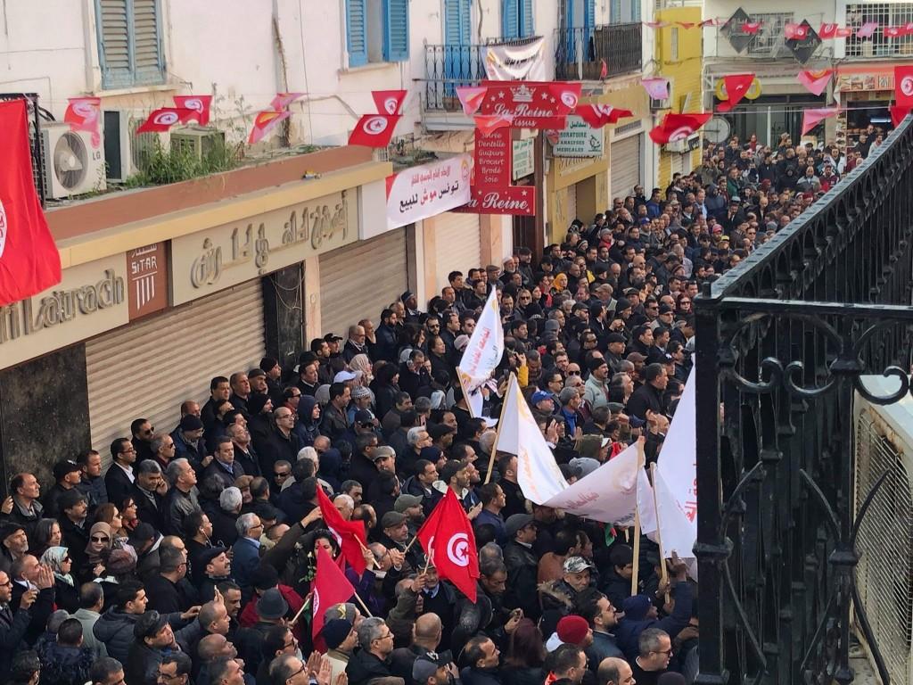 突尼西亞總工會今天發起全國性罷工。(UGTT 臉書)