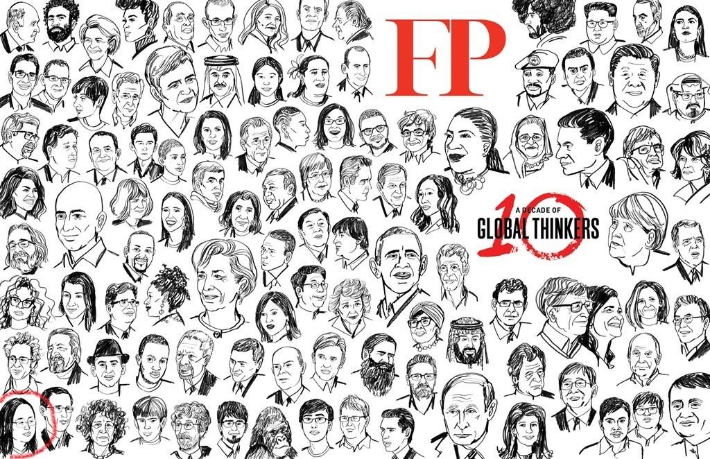 美國外交政策期刊公布2019年度百名全球思想家名單,以人物頭像畫方式代替照片介紹每位思想家。(圖取自外交政策網頁foreignpolicy