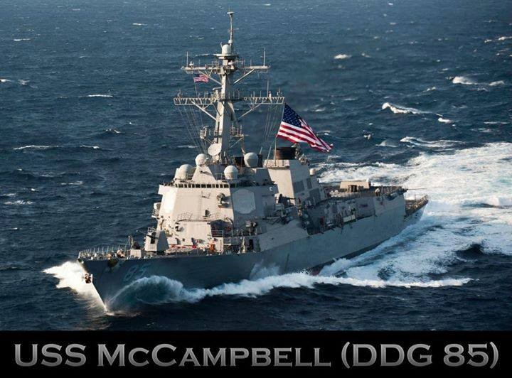 Guided missile destroyer USS McCampbell (photo taken from USS McCampbell Facebook)