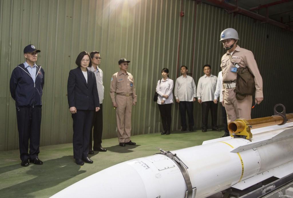 File photo: President Tsai inspects a missile at Su'ao Naval Base, April, 2018