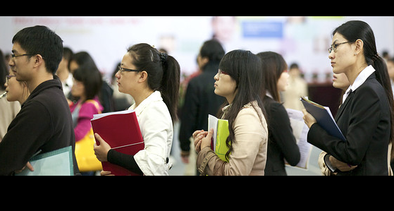 College students at a job fair in Shanghai