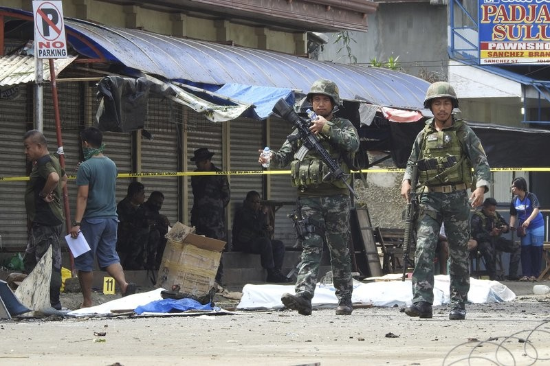 Soldiers in Jolo, Sulu province in southern Philippines, Jan. 27 following a church bombing