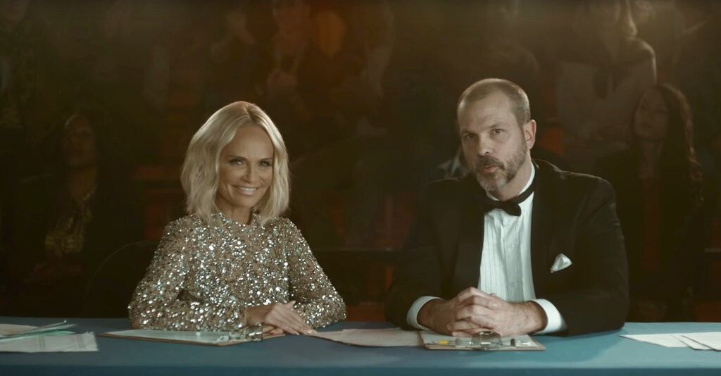 This undated image provided by Avocados From Mexico shows a scene from the company's 2019 Super Bowl NFL football spot featuring Kristin Chenoweth, le
