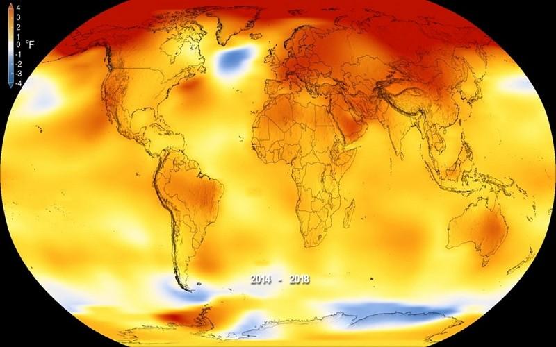 2019年2月NASA地表溫度影像(圖/美聯社)