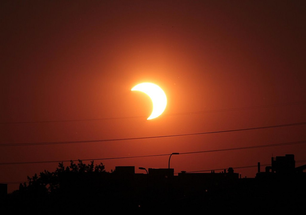 Partial solar eclipse seen from the U.S. (Flickr/NASA)