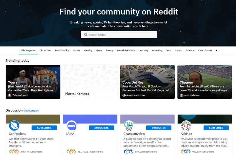 Tencent expected to invest in Reddit (screenshot from Reddit website)