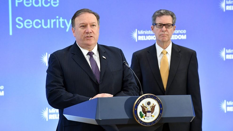 U.S. Secretary of State Mike Pompeo (left) with Ambassador-at-Large Sam Brownback. (photo by State Department)