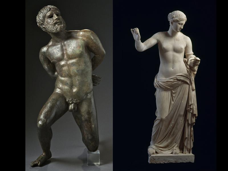 不慎遭臉書審查的裸體俘虜銅像(左)與女神維納斯(圖/美聯社)