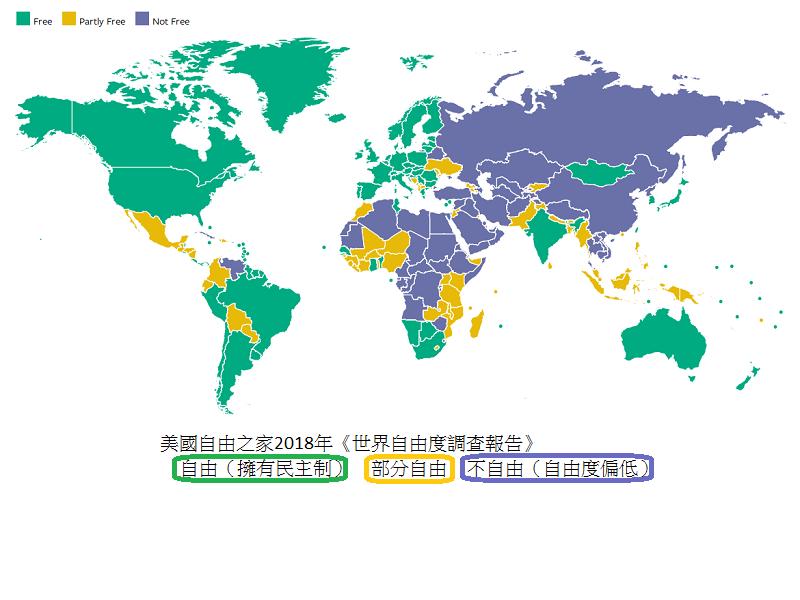 美國自由之家2018年《世界自由度調查報告》內,有關2017年透過政治、言論、集會等權利,劃分每個國家自由程度的分類。