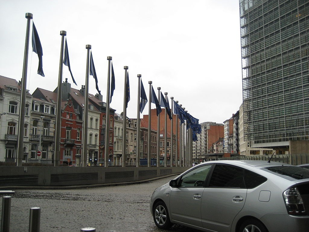 The European Union's Berlaymont building (right) in Brussels, Belgium (photo by Hlynz)