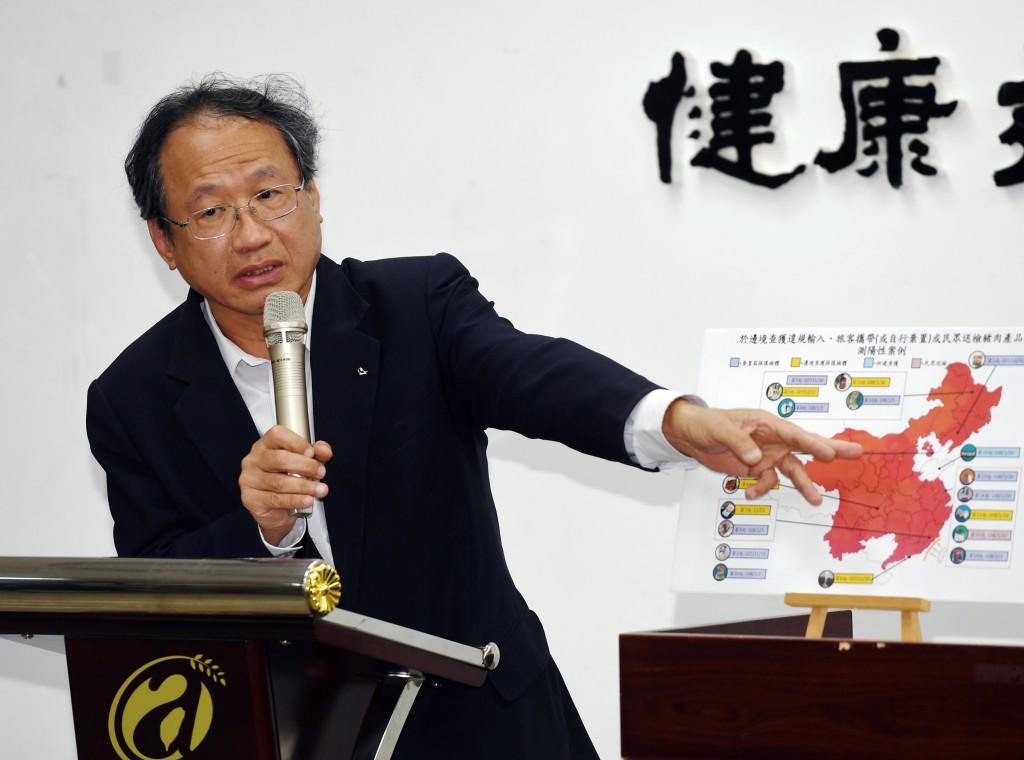 農委會副主委黃金城(圖)11日在記者會上,說明為防堵非洲豬瘟入侵,春節連假期間各項防檢疫措施等因應作為。