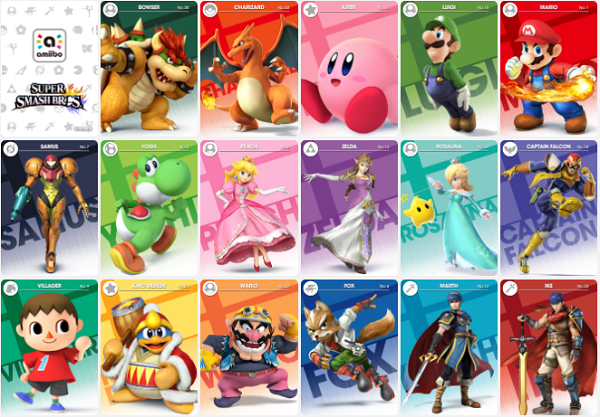 Super Smash Bros. Amiibo cards (Screen grab from gbatemp.net)