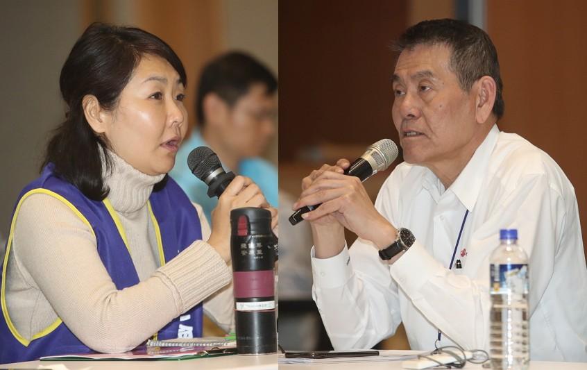 桃園市機師工會常務理事陳蓓蓓(左)、華航公司總經理謝世謙