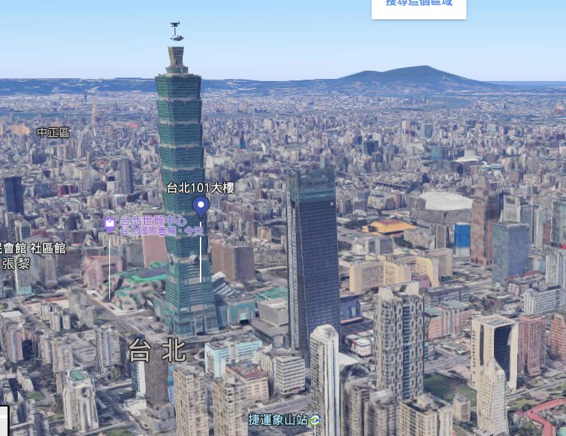 台北101還能跟微風南山一較高下(圖截取自Google地圖...