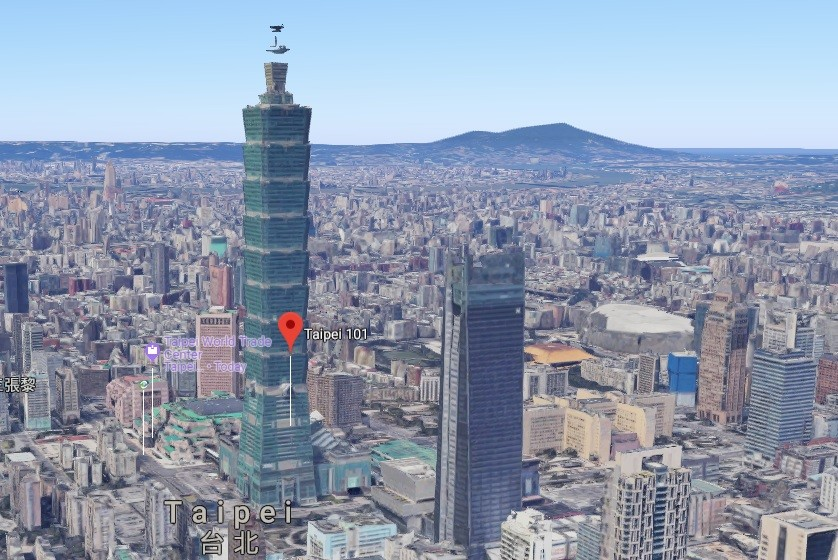 Google Maps 3D view of Taipei. (Screenshot from Google Maps)