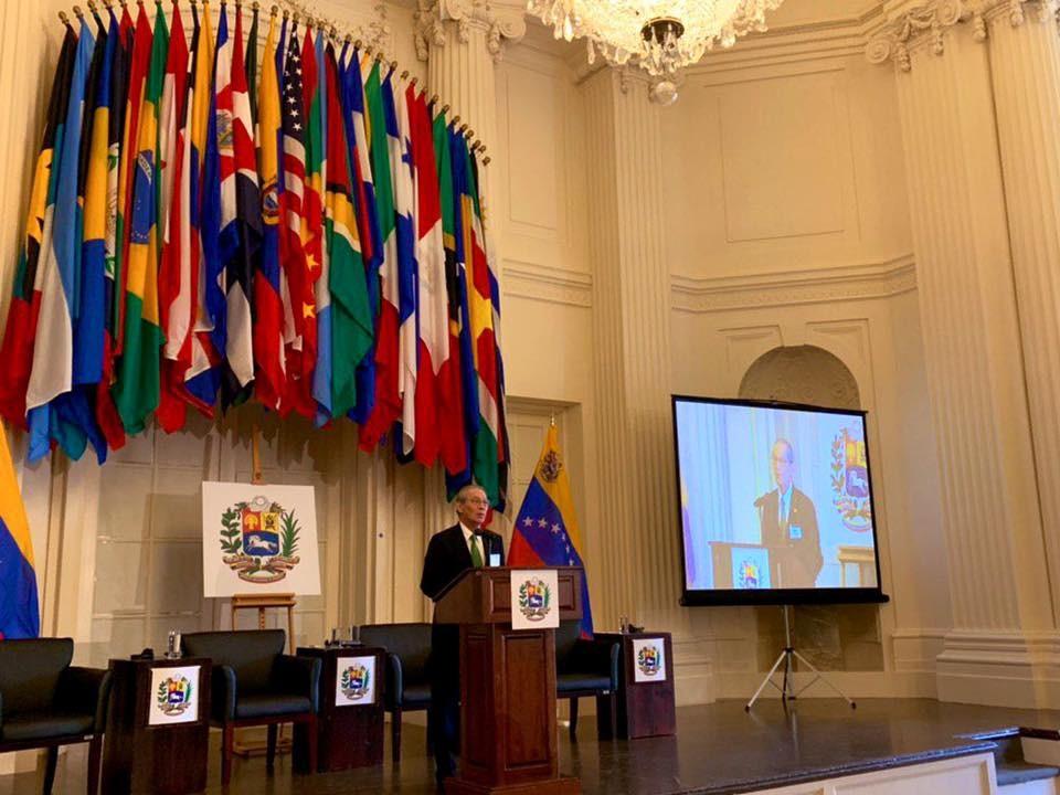 我國駐美代表高碩泰14日出席於華府舉行的委內瑞拉人道危機全球會議(照片翻攝自駐美國臺北經濟文化代表處臉書)