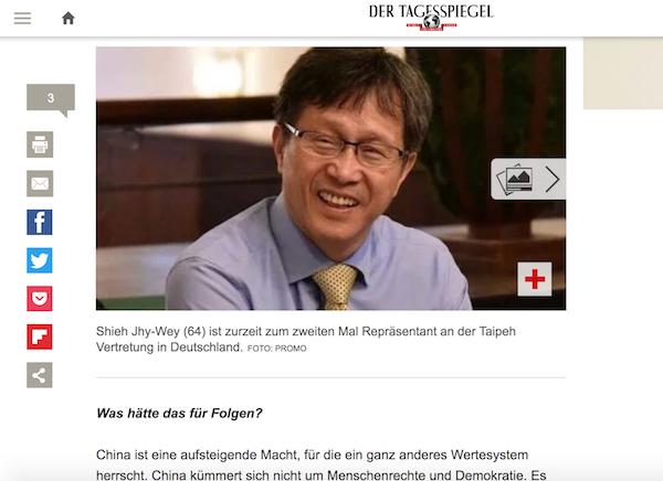 我國駐德代表謝志偉接受專訪(照片截取自每日鏡報 Der Tagesspiegel)