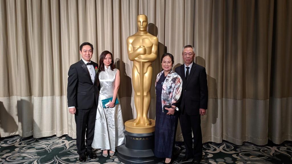來自台灣的軟體工程師馬萬鈞(左1)與南加大團隊研發的臉部捕捉特寫技術,獲得2019年奧斯卡獎科學技術成就獎(照片來源:馬萬鈞/中央社提供)