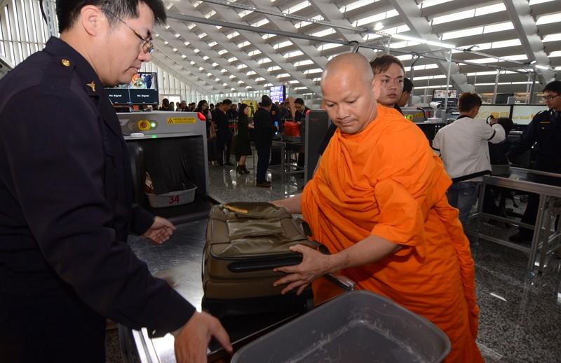 Hand luggage checks at Taiwan's airport