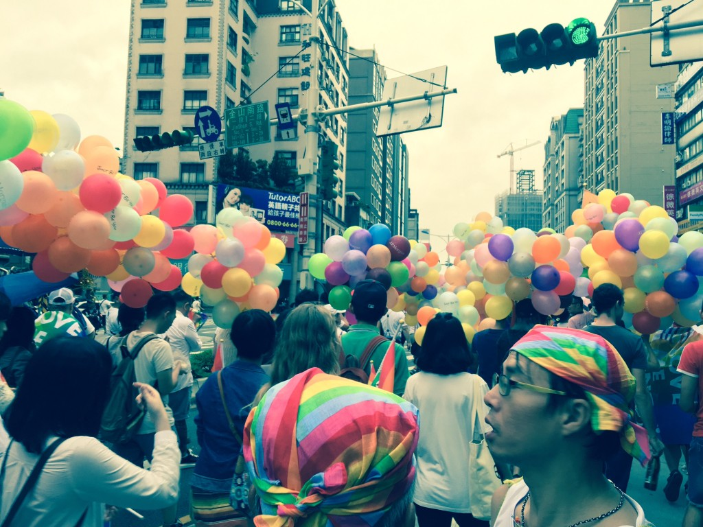 The photo shows a gay parade held in Taipei in 2016.