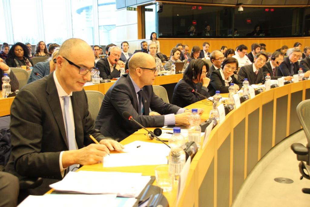 歐洲議會國際貿易委員會19日召開臺歐盟經貿關係公聽會(照片來源:中央社提供)
