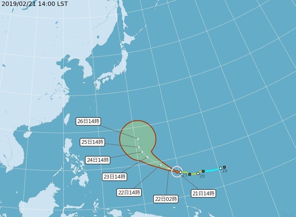 颱風路徑(圖片截取自中央氣象局)