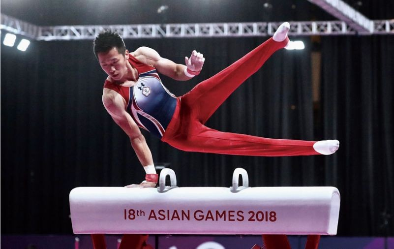 Gymnast Lee Chih-kai, a postgraduate student at NTSU, took a gold medal in the pommel horse, 2018 Asian Games