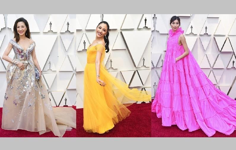 「瘋狂亞洲富豪」(Crazy Rich Asians)片中三位女星(從左至右),包括了楊紫瓊、吳恬敏和陳靜仍盛裝出席2019年奧斯卡金像獎