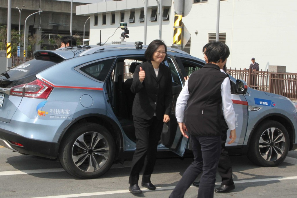 President Tsai at the test center in Tainan