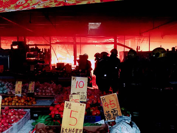 Market fire in Tainan