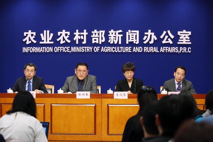 中國農業農村部2019年3月1日下午舉行非洲豬瘟專題新聞發布會,邀請專家權威解讀非洲豬瘟防控有關情況。(圖片來源:中國農業農村部網站)