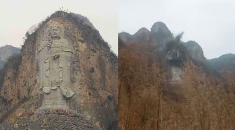Screenshot of Buddha before and after demolition from Bitter Winter video.
