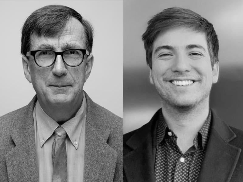 北美館公布下一屆雙年展策展人,將由法國哲學家布魯諾.拉圖(左),馬汀.圭納德林(右)接棒(圖/北美館)