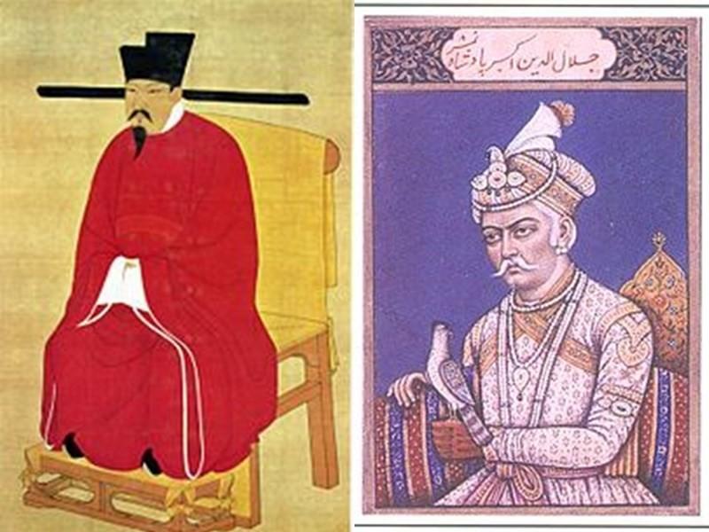第3名是北宋第6代皇帝,宋神宗趙頊(左);蒙兀兒帝國皇帝阿克巴是第4名。(圖/維基共享資源/中央社)